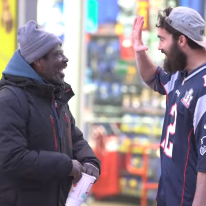 Invited Homeless People for Super Bowl!