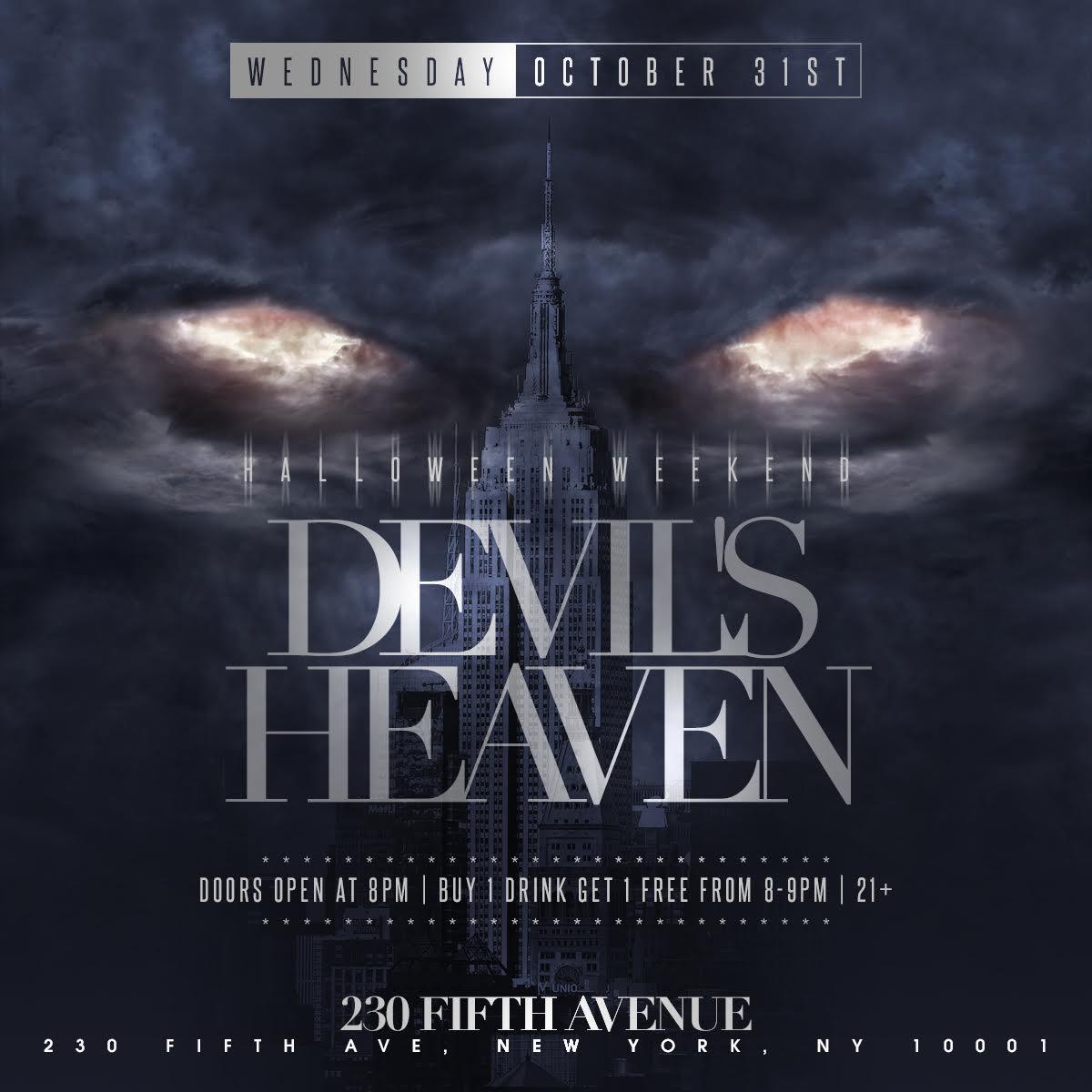 Halloween Weekend: Devil's Heaven - Rooftop Bar NYC - New