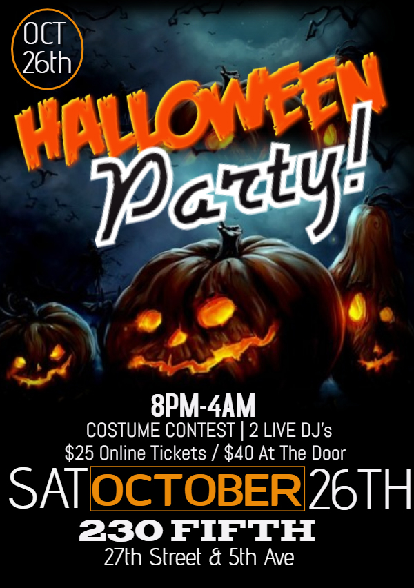 New York Halloween Party 27th Oct 2020 Halloween Party Tickets are available at the door only at this